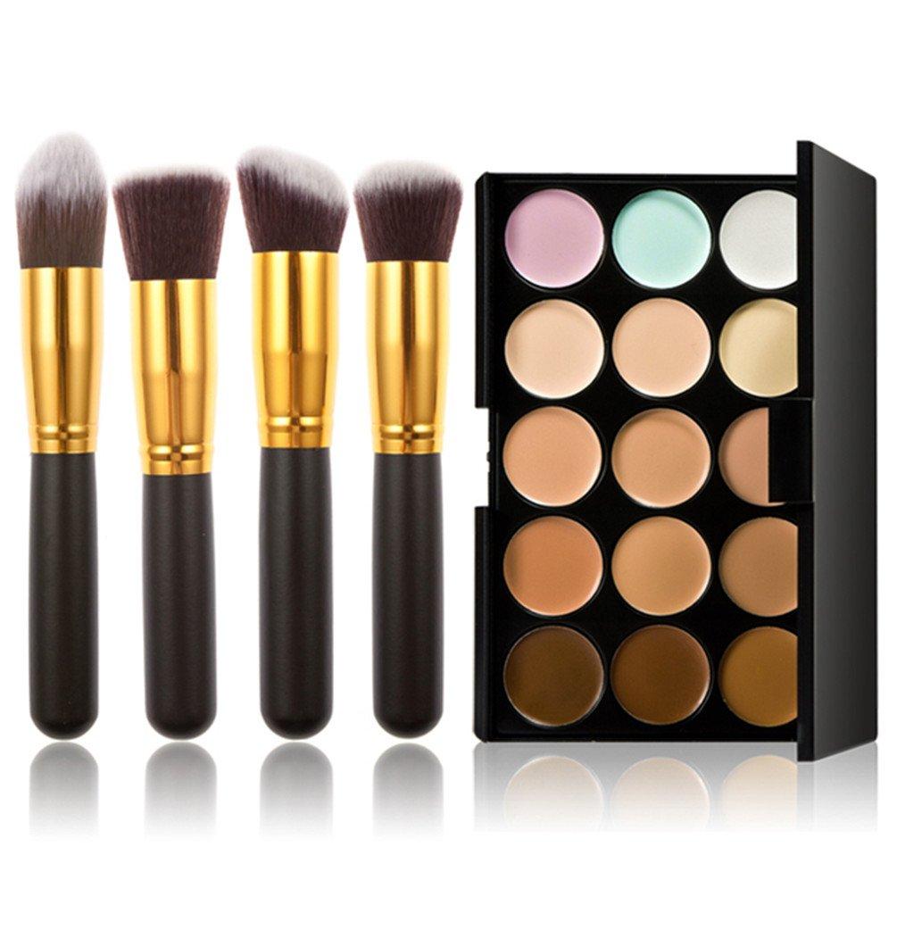 Fashion Base 15 Colors Contour Face Cream Makeup Concealer Palette With 10PCS Makeup Brushes Set Eyeshadow Brush (15 Color Concealer Palette& 4PCS Black and Gold Eyeshadow Brushes) by Fashion Base (TM)