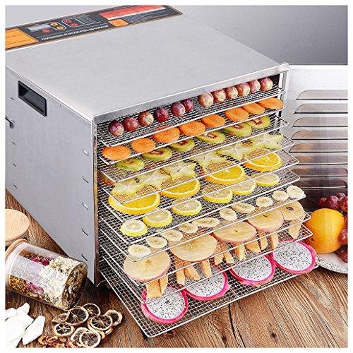 10 Tray Food Dehydrator Stainless Steel Fruit Jerky Dryer Blower Commercial New from Unknown