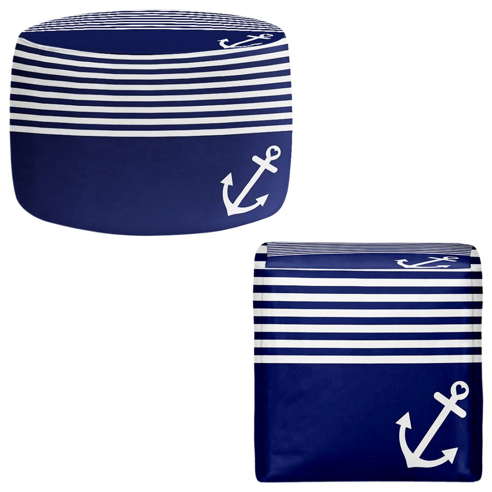 Foot Stools Poufs Chairs Round or Square from DiaNoche Designs by Organic Saturation - Navy Blue Love Anchor Nautical