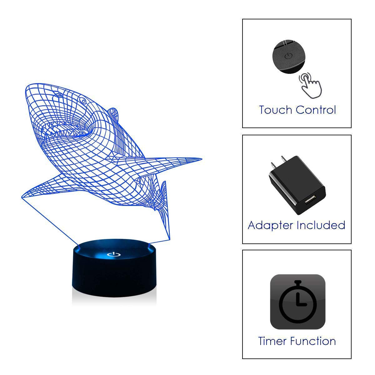 WOlight 3D Night Lights for Kids Shark Illusion Lamp with Remote Control and Timer/&Smart Touch 7 Colors Changing Table Desk Bedroom Deco Optical Illusion Lamps As a Gift Ideas for Boys or Girls