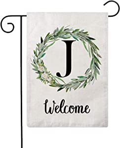 ULOVE LOVE YOURSELF Welcome Decorative Garden Flags with Letter J/Olive Wreath Double Sided House Yard Patio Outdoor Garden Flags Small Garden Flag 12.5×18 Inch