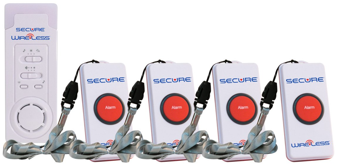 Secure SWCB-1S Wireless Slimline Pager Call Button Nurse Alert System - Patient Help Button and Caregiver Receiver - 500+ Ft Range ... (4 Transmitter Set)
