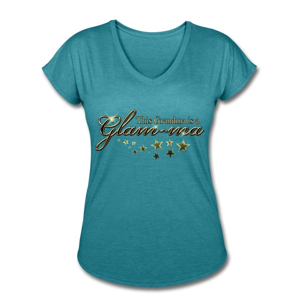 32ae0fb1c Amazon.com: Spreadshirt Grandma is A Glam-ma Women's Tri-Blend V-Neck  T-Shirt: Clothing