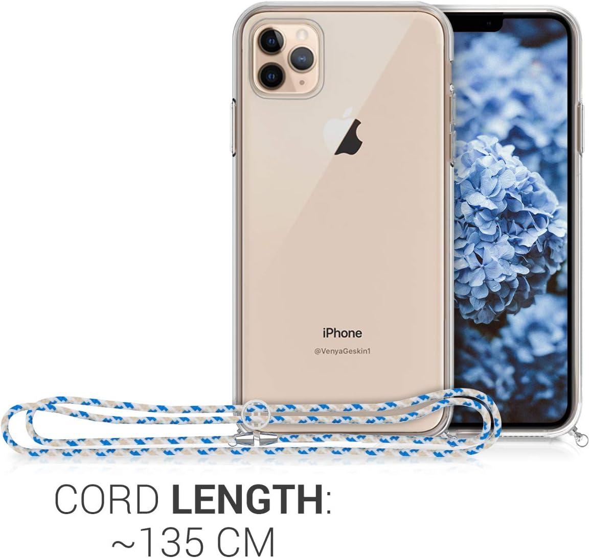 Case con cord/ón de Metal de 120CM kwmobile Funda de Silicona Compatible con Apple iPhone 11 Pro MAX Carcasa TPU Transparente