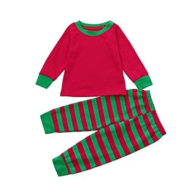 Kids Boy Girl Tops Blouse Pants Christmas Pajamas Set Family Clothes,vmree