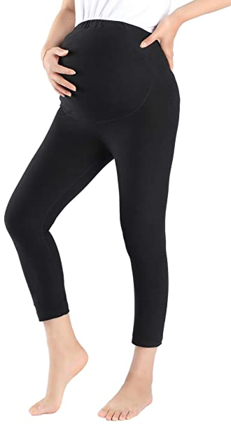 deb686177e247 Foucome Women's Over The Belly Super Soft Support Maternity Capris Black
