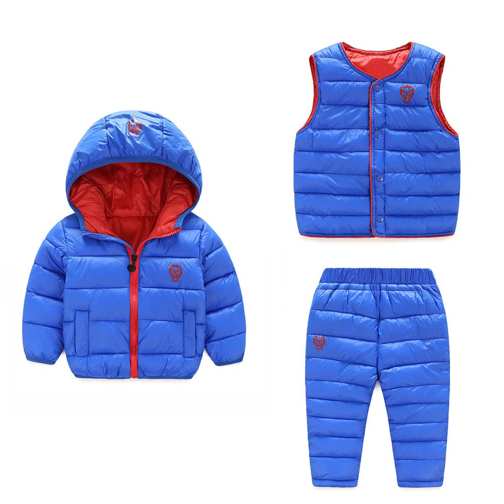 Baby Boy Girl Winter Puffer Snowsuit Down Hooded Jacket+Vest+Ski Pants Set LZ-TZ-463