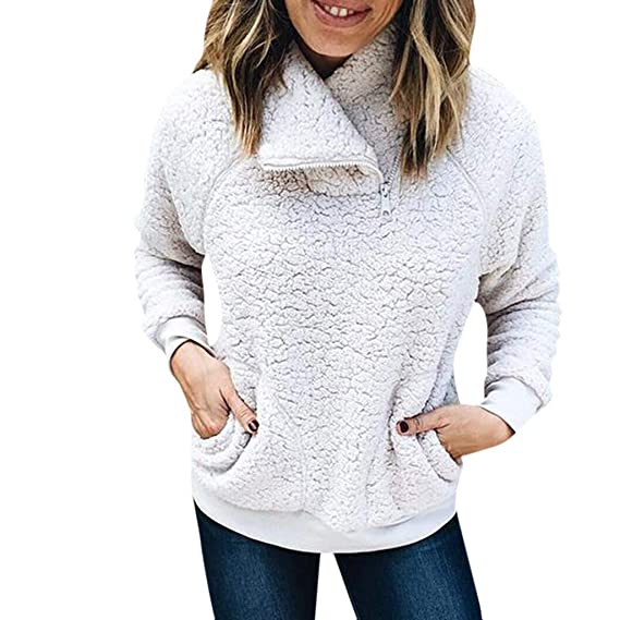 Suéter Mujer Cuello Alto Otoño e Invierno Parka Deporte Sudadera con Cremallera Felpa Abrigos Pelo Sintetico