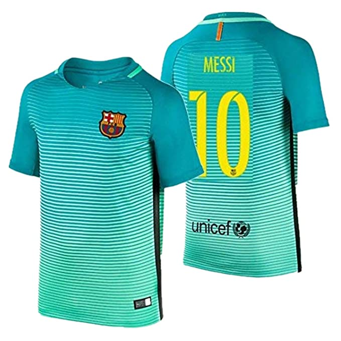 new product 8b957 6d6a0 2016 Messi #10 Barcelona Away Jersey & Shorts for Kids and Youths Color  Green