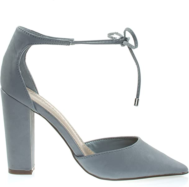555a64174e51 Women Leatherette Open Toe Ankle Strap Single Band Stiletto Sandal. Rena13  Grey Lace-Up D Orsay Pump