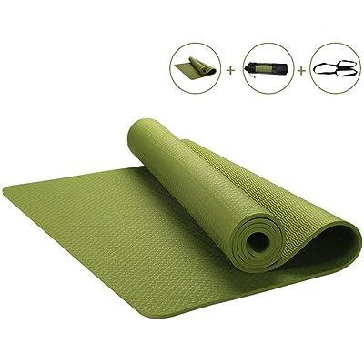 MMDP Tapis De Yoga Insipide Antidérapant De TPE Rallonger 185cm Tapis De Fitness Débutant Épaissir 6mm De Couverture De Yoga En Couleur