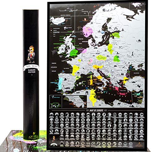 Europe Scratch Off Map Travel map Push pin Map EU Detailed map of Europe travel Wall map with Landmarks Bucketlist scratch off Europe travel map 16x24 Vibrant Black Mymap