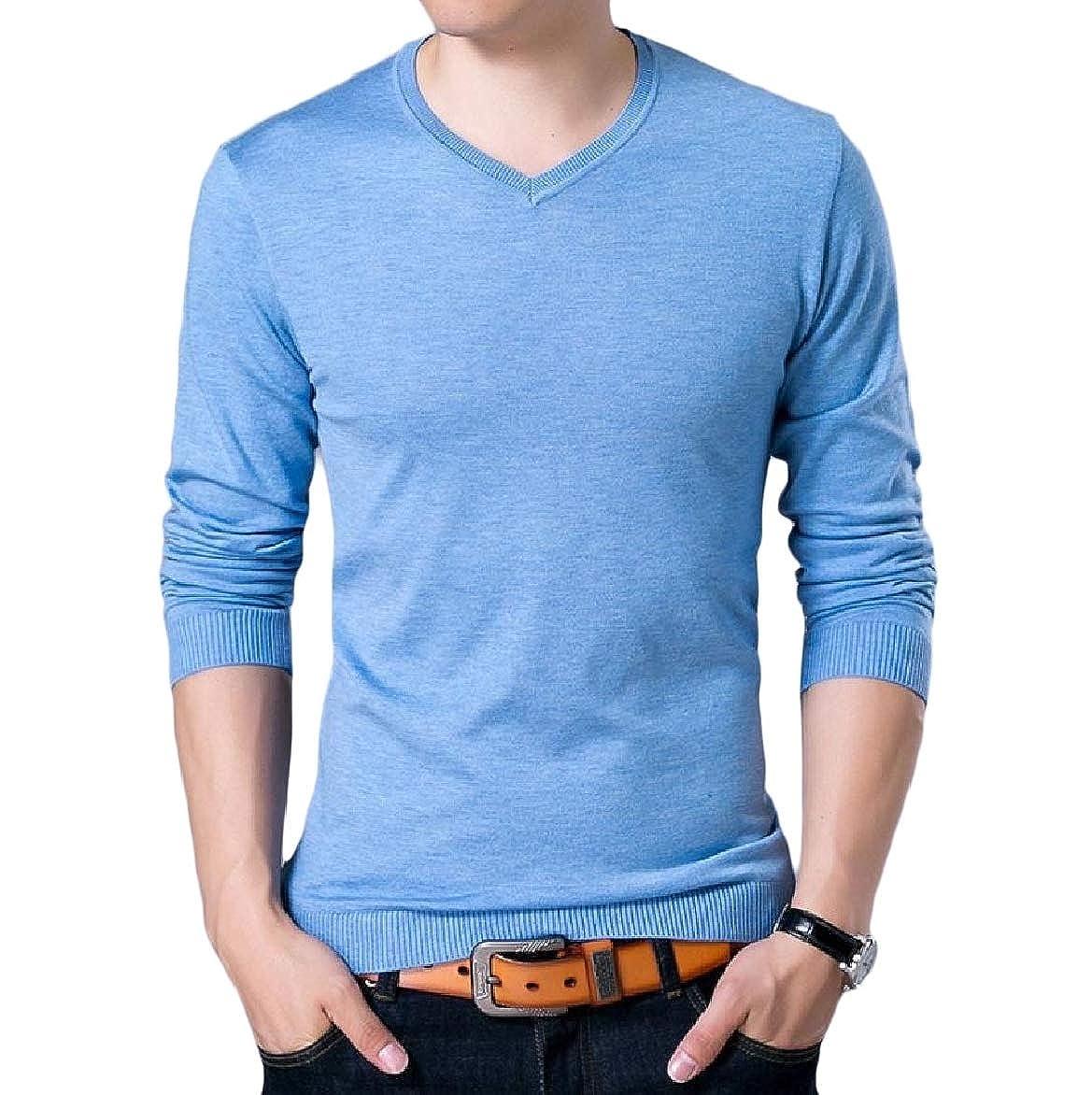 YUNY Men Knit Slim Juniors Fall Winter Long Sleeve Pullover Sweaters Sky Blue S