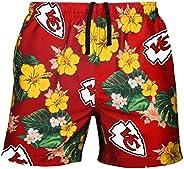 FOCO Mens Team Logo Floral Hawaiin Swim Suit Trunks