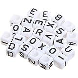 Newin Star Accesorio 290 Piezas granos de los cubos del alfabeto de acrílico mezclados inferior blanca granos de acrílico negro para los cubos del alfabeto de joyas Hacer