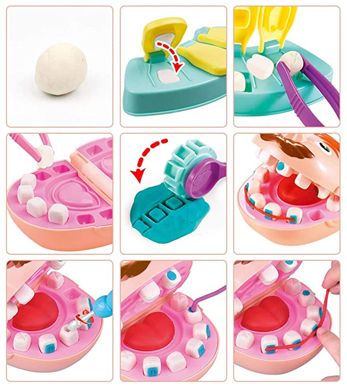 LVYE1 Juguete del Dentista Arcilla De Moldear Kit De Dentista Molde Dental Juguetes Educativos Juguete Educativo Escuela De Aula y Doctor De rol: Amazon.es: ...