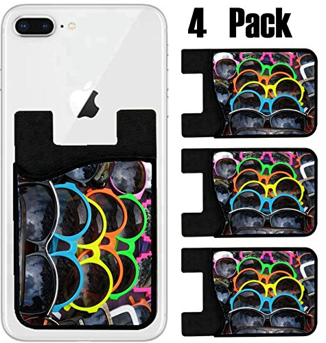 MSD Phone Card holder, sleeve/wallet for iPhone Samsung Android and all smartphones with removable microfiber screen cleaner Silicone card Caddy(4 Pack) IMAGE ID 29288660 A display of colorful - Custom Sunglases