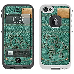 Skin Decal for LifeProof Apple iPhone 5 Case - Stitched Vine Heart on Turquoise Jeans