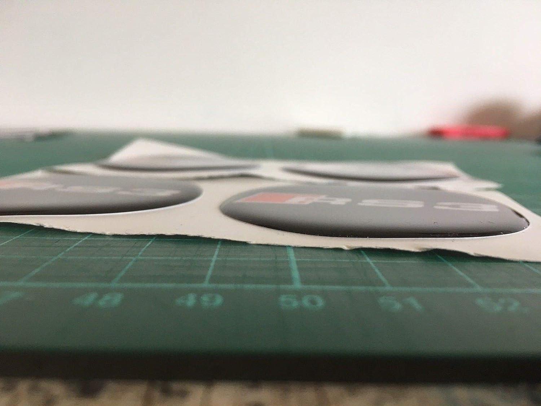 SCOOBY DESIGNS Audi RS4/en Forme de d/ôme R/ésine Centre de Roue en Alliage Stickers X4/A4