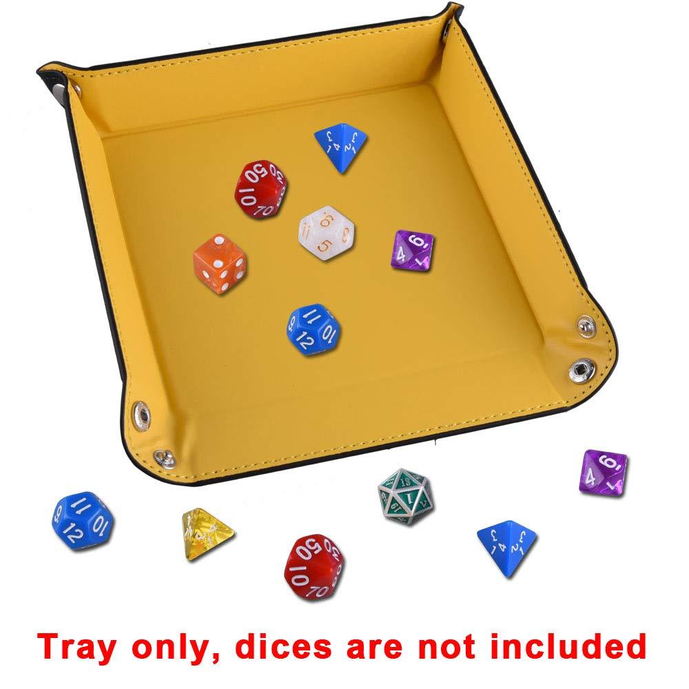 DND und andere Tischspiele 6 Farben SIQUK 6 St/ück W/ürfelteller PU Leder W/ürfelbretter Fach Faltender Platzhalter f/ür W/ürfelspiele wie RPG