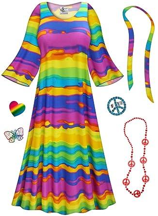 amazoncom end of the rainbow hippie dress plus size supersize halloween costume clothing