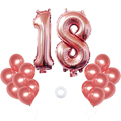 40 Inch Big Number 18 Mylar Balloons Rose Gold 18th Birthday Jumbo Foil Balloon For