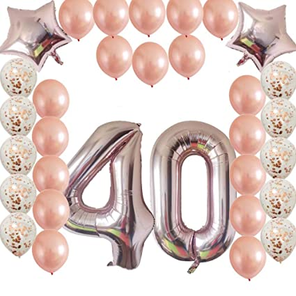 Cheeringup 40inc 40th Birthday Decorations Party Supplies Set Rose Gold Confetti Latex Number Balloons