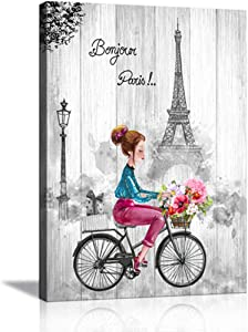 Black and White Wall Art for Bedroom Bathroom Paris Canvas Wall Art for Cute Teen Girls Room Decor Pink and Gray Paris Theme Picture Eiffel Tower Painting Girl Riding Bike with Flowers for Home Decor