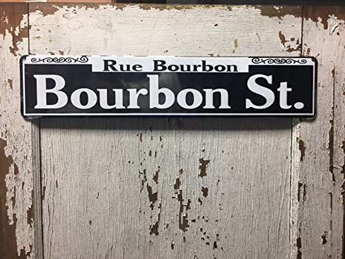 Embossed Street Sign - ShopForAllYou vintage decor wall signs Bourbon St. 24