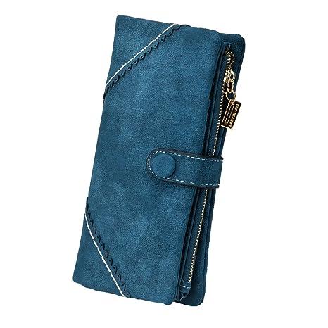 f3944ec6a TechSmile Mujer cartera Clásica Estilo Billetera larga de cuero y Gran  capacidad para Tarjetas (oscuro