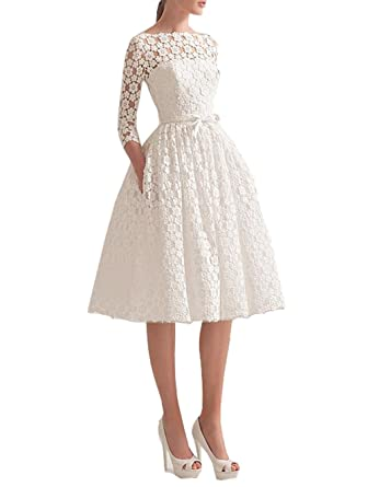 eb8890a85430 Ikerenwedding Women's Bateau 3/4 Sleeves Tea-Length Lace Wedding Dress at  Amazon Women's Clothing store: