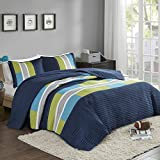 Bedspreads Queen Size Mini Quilt Set - Casual Pierre 3 Piece Kids Lightweight Filling Bedding Cover - Blue/Navy Patchwork Print - All Season Hypoallergenic - Fits Full/Queen - Comfort Spaces