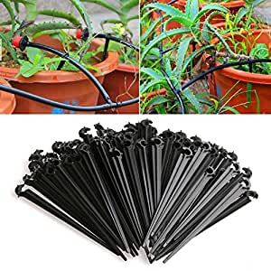 LING'S SHOP 100Pcs 4mm/7mm Micro Hose Fixed C-Type Holders Drip Irrigation Accessories