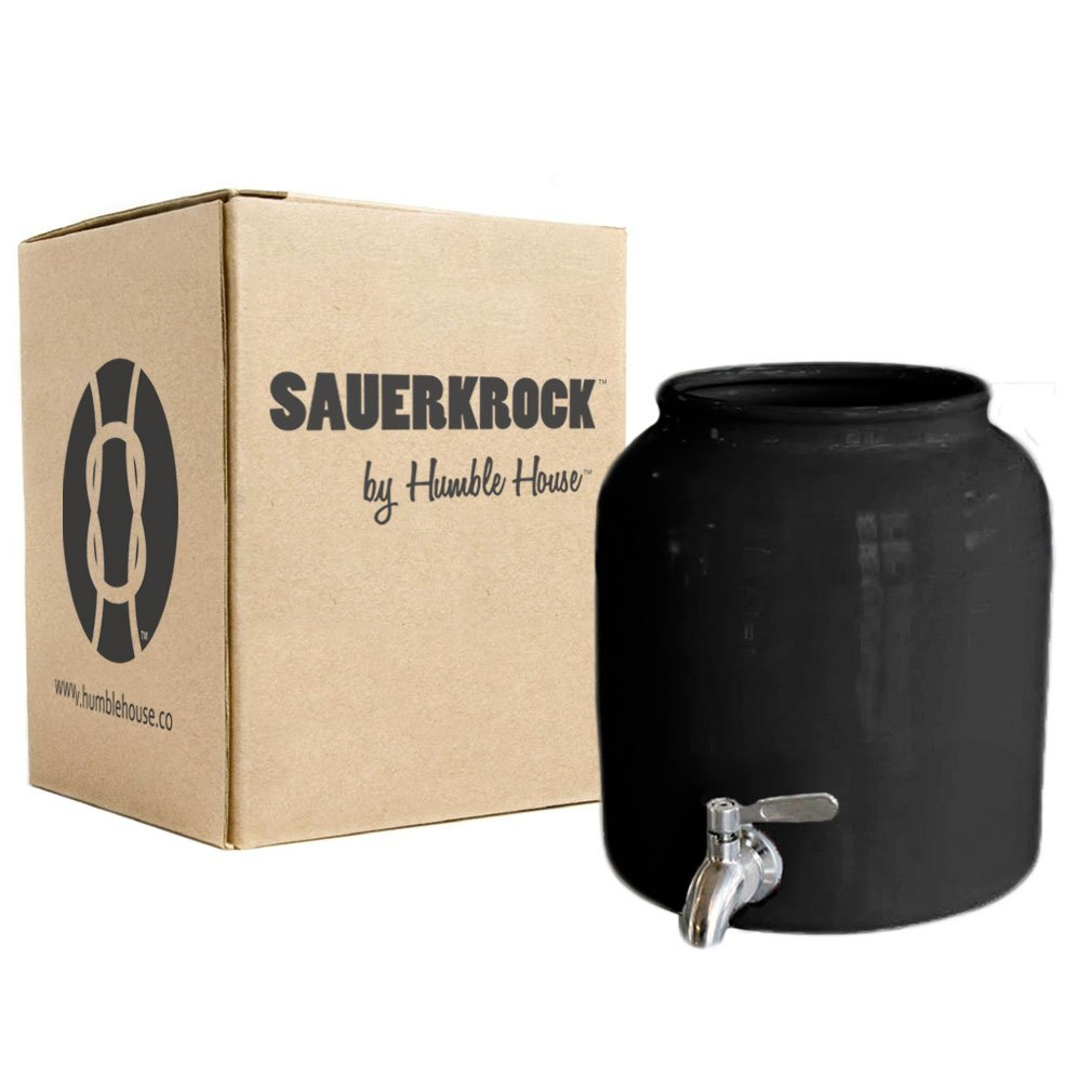 "Humble House Stainless Steel Spigot Kombucha Crock Continuous Brew SAUERKROCK ""Tap'' 5 Liter (1.3 Gallon) Jar (Classic Black) by Humble House"