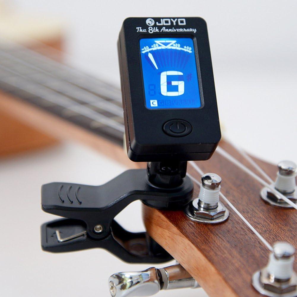 EisEyen - Afinador Digital para Guitarra, violín, Ukelele, Viola, Violonchelo y Contrabajo (cromático)