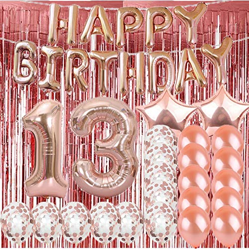 Sweet 13th Birthday Decorations Party Supplies,Rose Gold Number 13 Balloons,13th Mylar Balloons Rose Gold Foil Fringe Curtains Photo Backdrop Great 13th Birthday Gifts for Girls,Women,Men,Photo Props]()