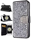 (US) iPhone 6s Plus Case, FLYEE Handcraft Luxury Bling Rhinestone Wallet Case Ultrathin Magnetic Kickstand Crystal Leather Book Cover for Apple iPhone 6s/iPhone 6 Plus 5.5 Inch-Silver
