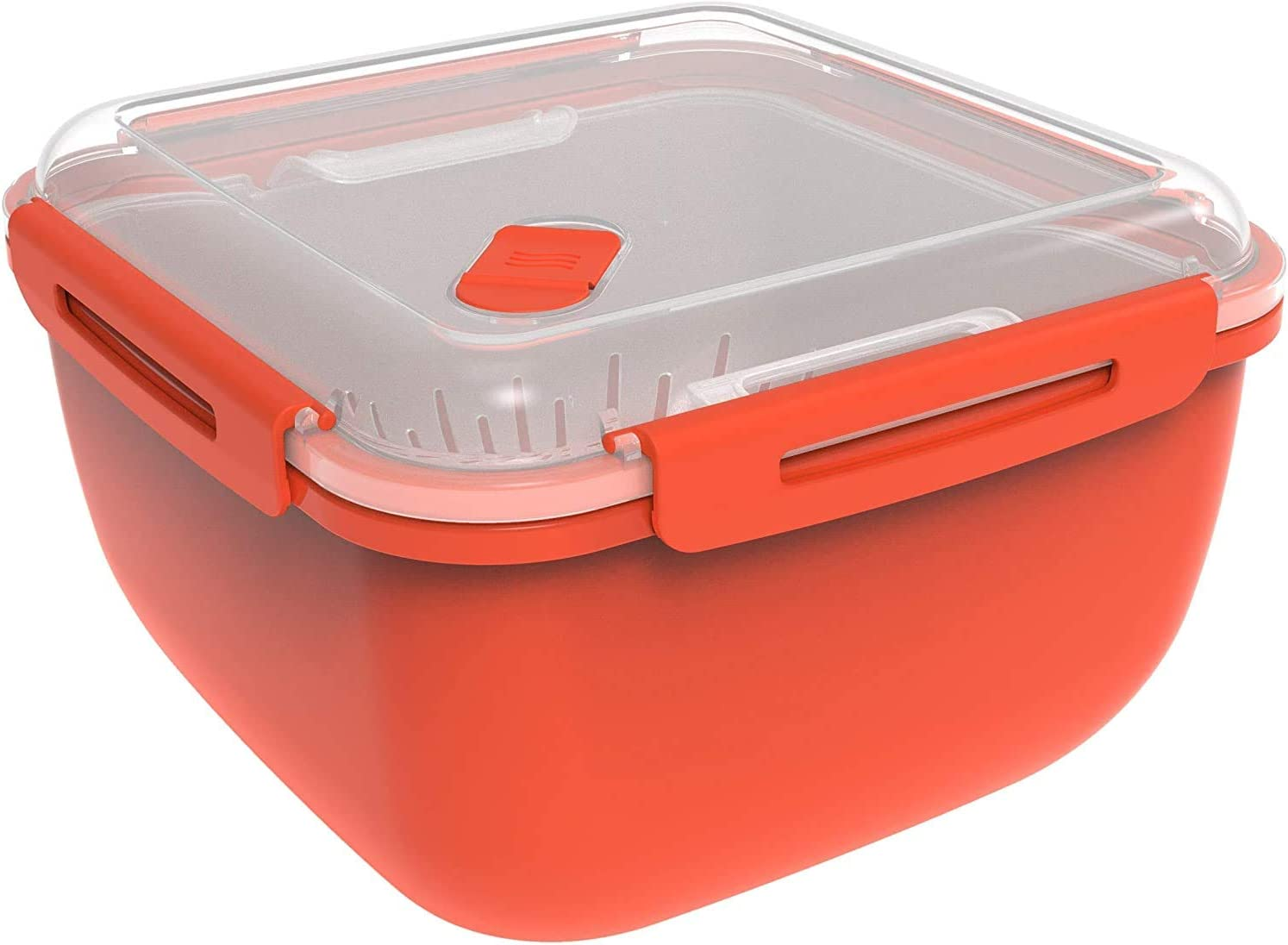 Rotho Memory Microwave, Vaporizador de 2.5 l con tamiz para microondas y vaporizador, Plástico PP sin BPA, rojo, transparente, 2.5l 19.5 x 19.5 x 12.1 cm