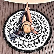 Round Beach Throw Blanket with Tassel Hippy Boho Gypsy Tapestry Wall Hanging Tablecloth Yoga Mat for Travel Camping Sports Swimming and Bath, White and Black