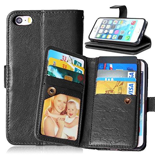 Crazy Horse 9 Card Slots Leather Wallet Tasche Hüllen Schutzhülle - Case für iPhone SE / 5s / 5 - schwarz