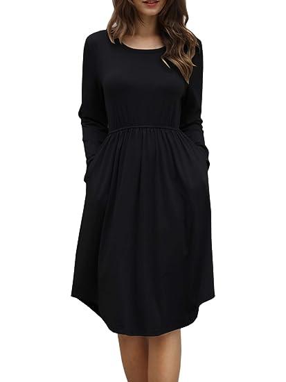 Imysty Womens Long Sleeve Midi Dress Empire Waist Pleated Casual