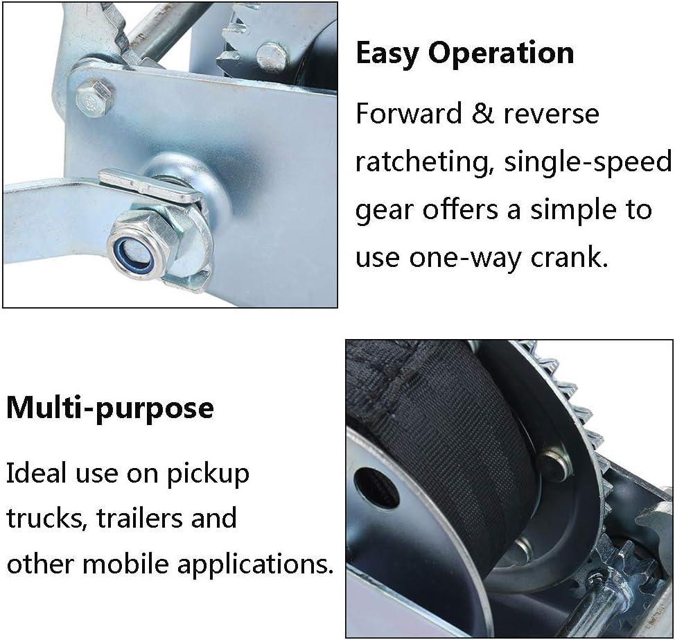 Qook 7m Black Webbing Hand Winch 1200 Lb Marine Manual Traction ...