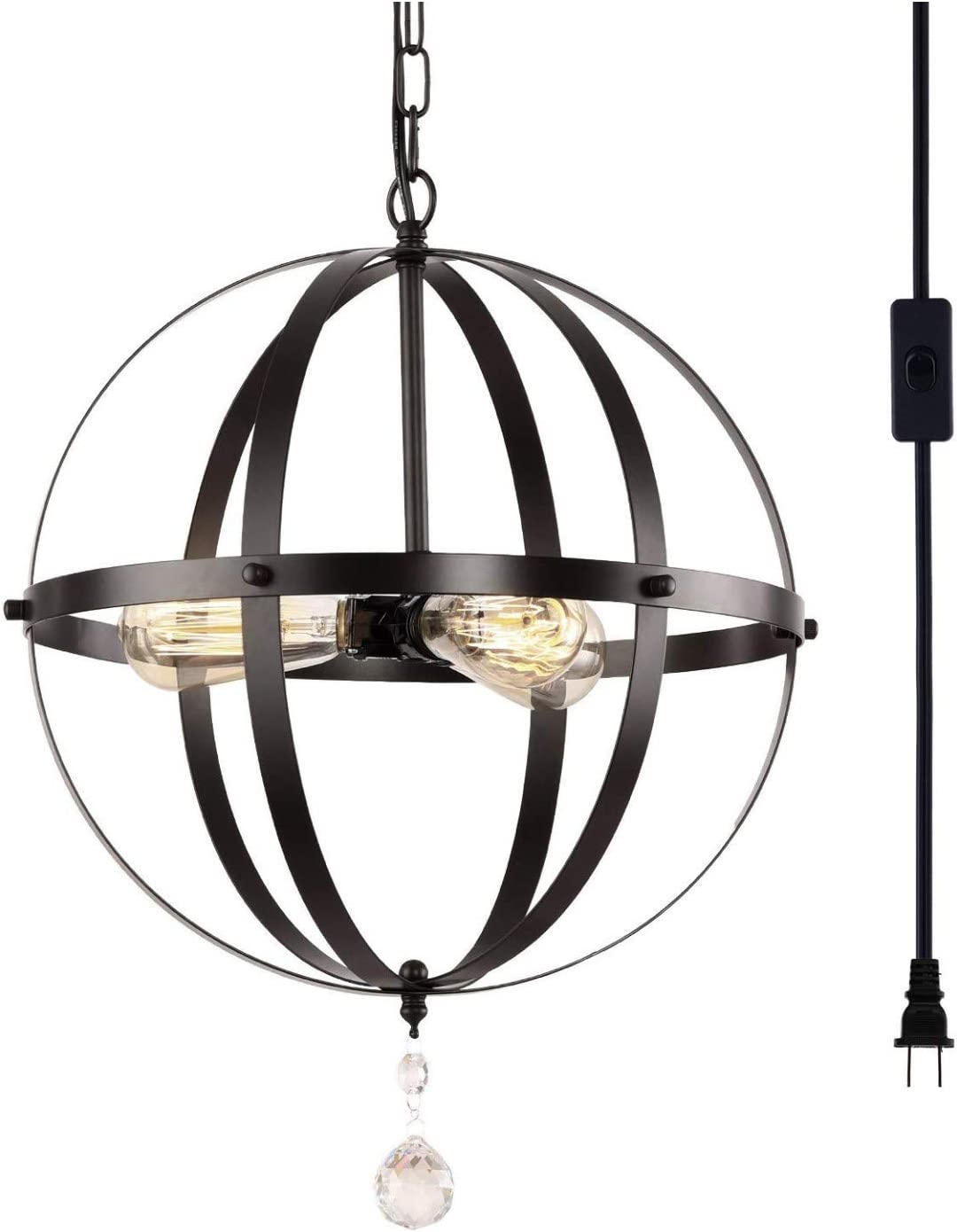 HMVPL Plug in Pendant Light Fixtures, Industrial 3 Light Globe Swag Lamp with 16.4 Ft Hanging Cord and Toggle Switch, Black Finish Vintage Metal Chandelier for Living Room Kitchen Island Hallway
