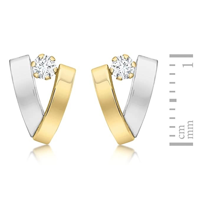 Carissima Gold Women's 9 ct Yellow and White Gold Cubic Zirconia Band V-Shaped Earrings 4Ww5ASe8x