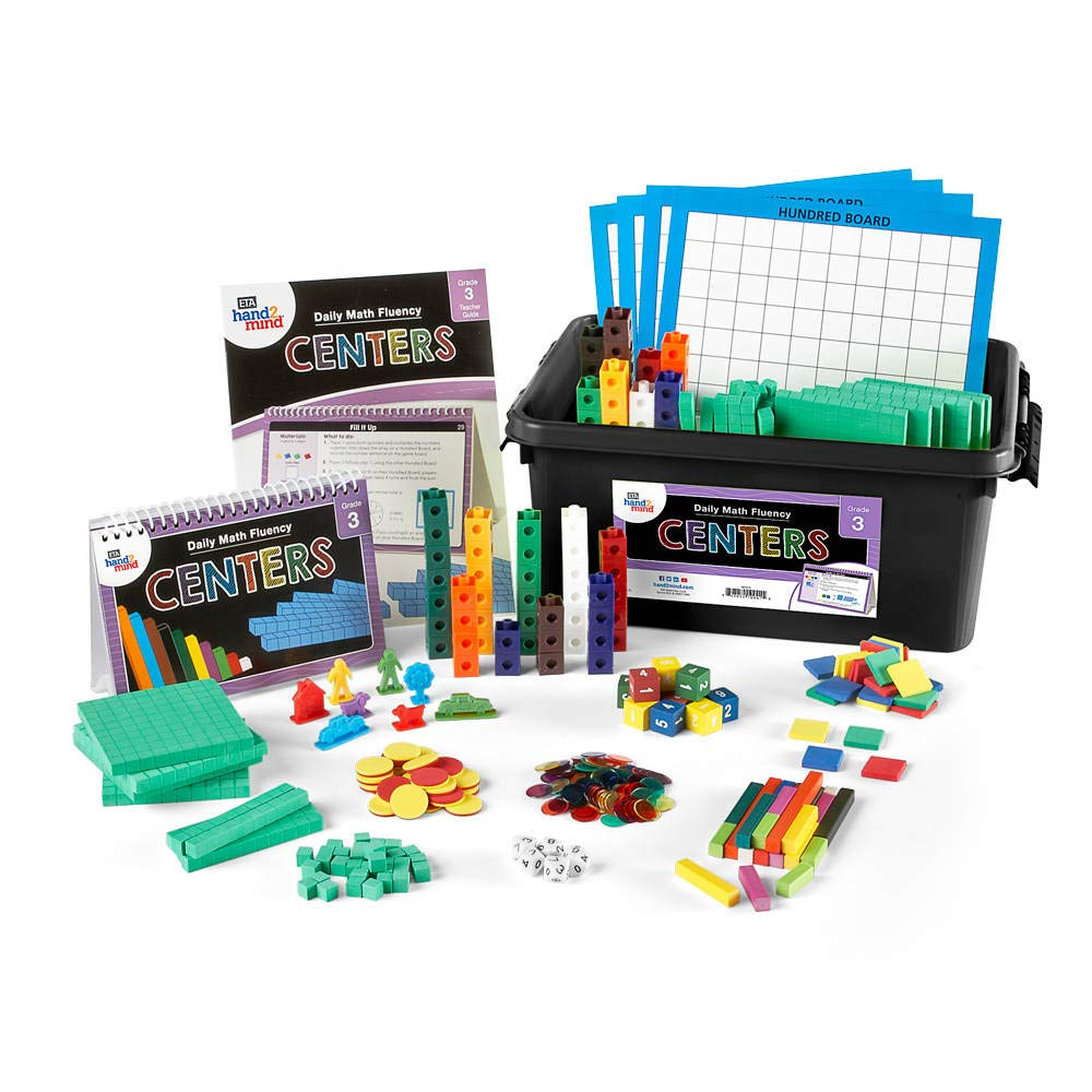 hand2mind Daily Math Fluency Classroom Center Kit for Kids (Grade 3+) - Find The Distance, Keep The Same Distance, and Splitting