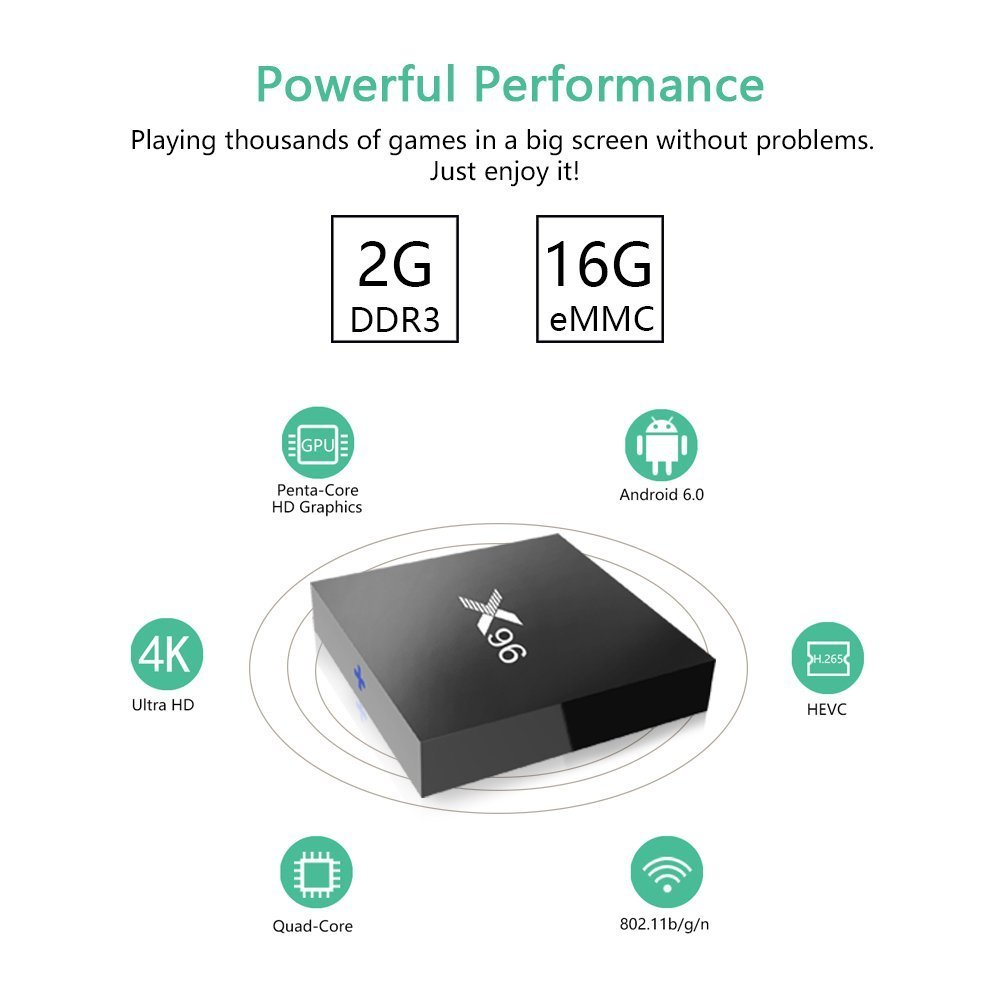Aoxun Android 6.0 TV Box 2G + 16GB Smart TV Box Quad-core Inteligente Set-top Boxes 64 bits y True 4K jugando H.265, WIFI 2.4Ghz X96 (2G + 16G): Amazon.es: ...