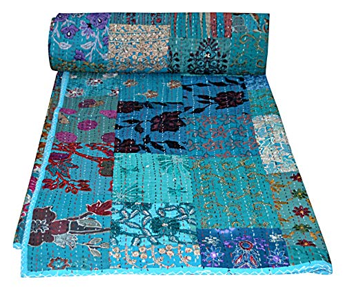 Yuvancrafts Indian Handmade Patch Work Cotton Kantha Quilt Traditional Print Queen Quilt Blanket Bedspreads Throw (Indian Embroidery Bedspread)