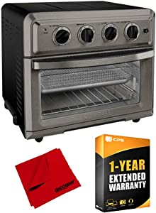 Cuisinart TOA-60BKS Convection Toaster Oven Air Fryer with Light Black Bundle with Extended Warranty and Deco Gear Microfiber Cloth