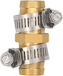 cozyou 5 Pack 1/2 Inch Brass Garden Water Hose Repair Mender Hose Connectors with Stainless Clamp