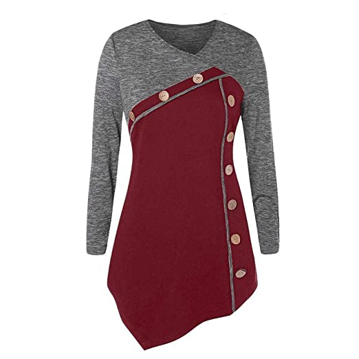 b067f81f3464d Amazon.com  Clearance Sale! Oliviavan Women s Long Sleeve Plus Size Buttons  Embellished Irregular T-shirt Blouse Tops  Clothing